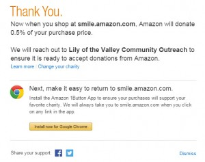 amazon smile charity selected